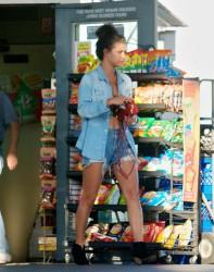 Jessica Szohr - At a gas station, L.A. - April 10 2012